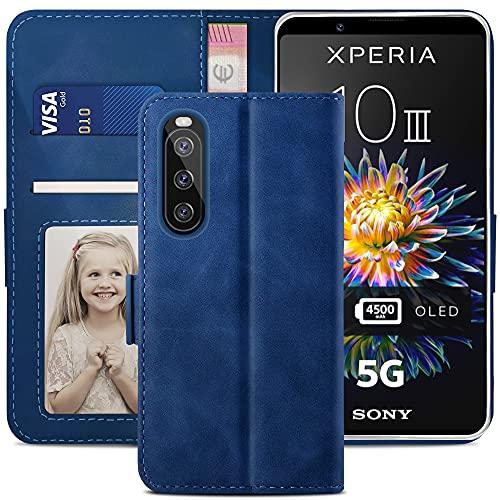 YATWIN Handyhülle Kompatibel mit Sony Xperia 10 III 5G Hülle, Klapphülle Sony Xperia 10 III 5G Premium Leder Brieftasche Schutzhülle [Kartenfach][Magnet][Stand] Handytasche für Xperia 10 III, Blau