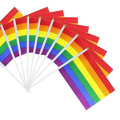 SUNREEK Regenbogen Pride Homosexuell Stick Flagge, 50 Pack Kleine Mini Hand LGBT Fahnen auf Stöcken, Dekorationen Zubehör für Karneval, Gay Pride Rainbow Party
