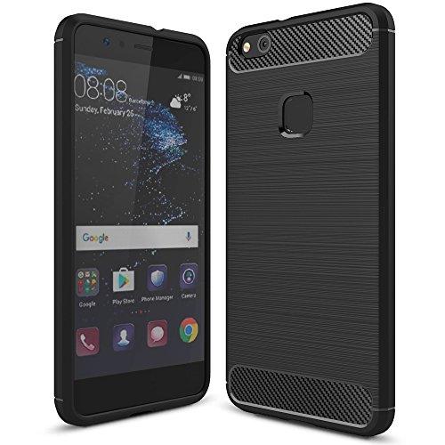 NALIA Funda Carbono Compatible con Huawei P10 Lite, Protectora Movil Carcasa Cobertura Silicona Ultra-Fina Gel Bumper Estuche, Ligera Goma Cubierta Delgado Cover Smart-Phone Case, Color:Negro