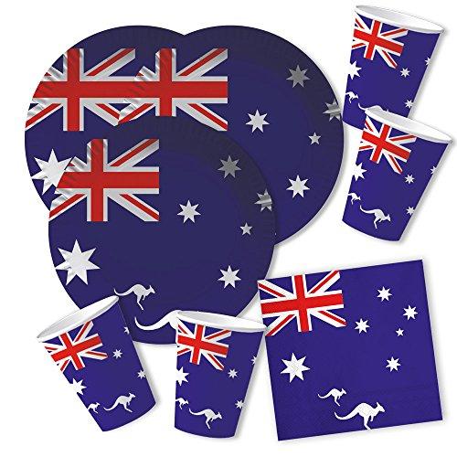 DH-Konzept 60-teiliges Party-Set Australien - Teller Becher Servietten für 20 Personen