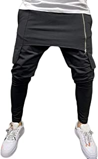 MK988 Men Casual Sport Irregular Solid Color Elastic Waist Sweatpants Pants Trousers