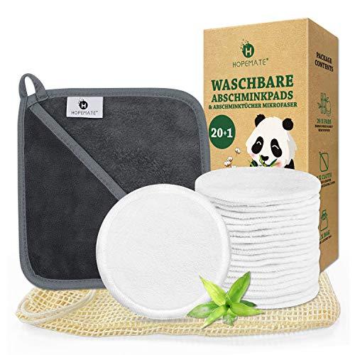20 Stück Abschminkpads Waschbar + 1 Stück Abschminktücher Mikrofaser, Wiederverwendbare Wattepads aus Bambusfaser, Superweich Make up Entferner Pads mit Wäschesack für Gesichtsreinigung, Zero Waste