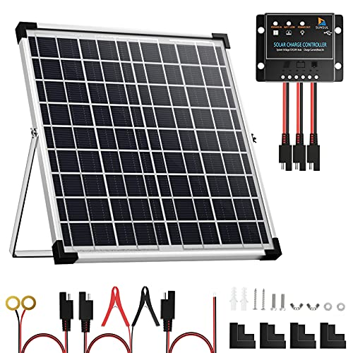 SUNSUL 20 Watt 12V Solar Panel Kit Battery Maintainer Trickle Charger, with Waterproof 5A 12V/24V PWM Solar Charge Controller and Adjustable Solar Panels Mount Rack Bracket (20 Watt with Accessories)