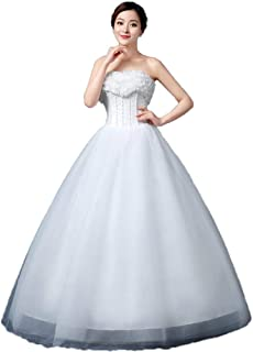 Bride Formal Tube Top Wedding Dress Elegant Cocktail Tulle Fluffy Skirt Lace Ball Gown beautiful
