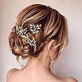 Edary Pasadores para el pelo de novia, de cristal, para novia, accesorios para el pelo de boda, para mujeres y niñas, paquete de 3