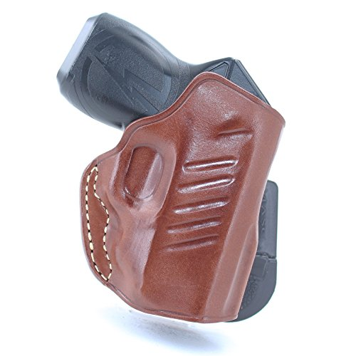 Premium Leather Paddle Holster OWB Open Top for, Taser Pulse, Right Hand Draw, Brown Color #1280#