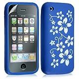 Housse étui coque silicone pour Apple Iphone 3G 3GS couleur bleu motif fleur + film protection