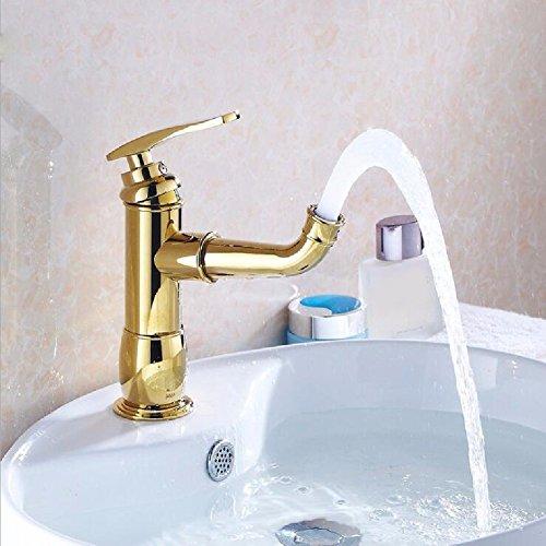HQLCX Robinets de lavabo Blonde Robinet Bain Buffet Froid Robinet D'Eau Chaude Spray Visage Robinet