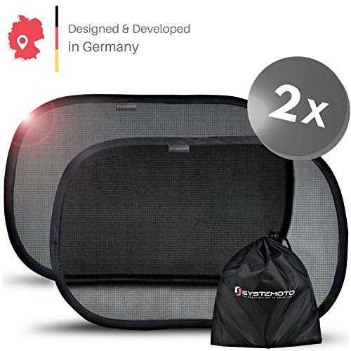 Systemoto Selbsthaftender Sonnenschutz Auto für Baby mit Zertifiziertem UV Schutz (2er Set), Schwarz