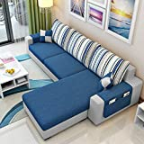 CasaStyle 4 Seater Adona RHS Fabric L Shape Sofa Set (Dark Blue- Light Grey)
