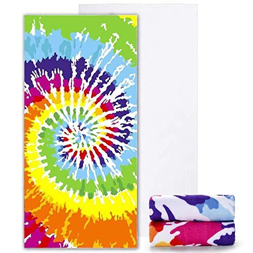 Gxeb Microfibra Pintado a Mano Color Baño Toalla Rectangular Playa Toalla para Playa Natación Piscina X/A*2 / El 150x180cm