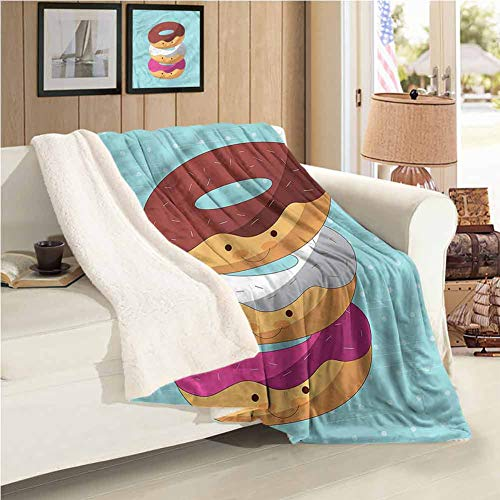 "Maureen Austin Anime Thickened Lamb Cashmere Blanket Kawaii Cartoon Donuts Easy to Care 59""X47""Inch"