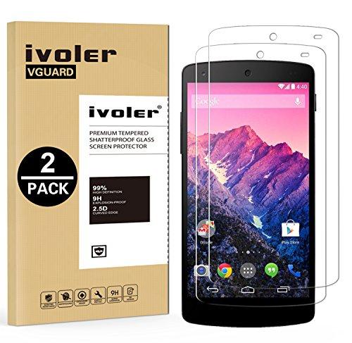 ivoler [2 Stücke] Panzerglas Schutzfolie für LG Google Nexus 5 [9H Härte] [Anti- Kratzer] [Bläschenfrei] [2.5D Runde Kante]