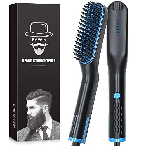 Beard Straightener for Men Heated Beard Straightening comb Fast Heating AntiScald Beard Comb Beard Hair Straightener Brush for Men Dual Voltage Portable Beard Straightening Brush for TravelGift