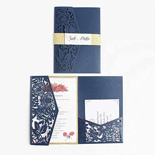 ZheQR Perfekte Hochzeitsglückwunschkarte mit Glittery Bauchband UAWG-Postkarte dreifach gefaltetem Taschenlandlaser Schnitt Einladungssatz, Blau, Laser-Schneidenkarte