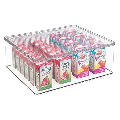 mDesign boîte de rangement avec couvercle – bac de rangement en plastique robuste pour conserves, épices, snacks, etc. – organiseur cuisine empilable avec couvercle à charnière – transparent
