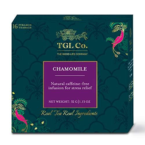 TGL Chamomile Tea, 16 Tea Bags (15 Tea Bags + 1 Free Exotic Sample) | Tisane Tea | Herbal Infusion Tea | Herbal Tea