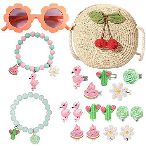 PinkSheep Jewelry toy for Kids 14 PC Bag Sunglasses Clip-on earring Bracelet Adjustable Ring Summer Vacation Beach Accessories for Little Girl Kids Flamingo Watermelon Cactus Flower Value Set Party Favors Girl Teen Costume Pretend Play