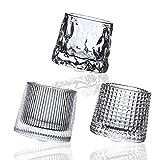 Spherical Bottom Rotatable Crystal Whiskey Glasses 5oz 3 PCS , for Drinking Bourbon, Scotch Whisky,...
