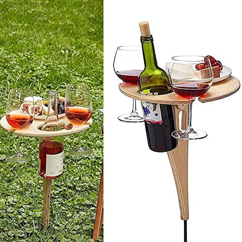 Mesa de vino plegable al aire libre, mesa de picnic portátil de madera para niños con escritorio redondo plegable de madera, mesa plegable para jardín, fiesta, viajes, camping, playa