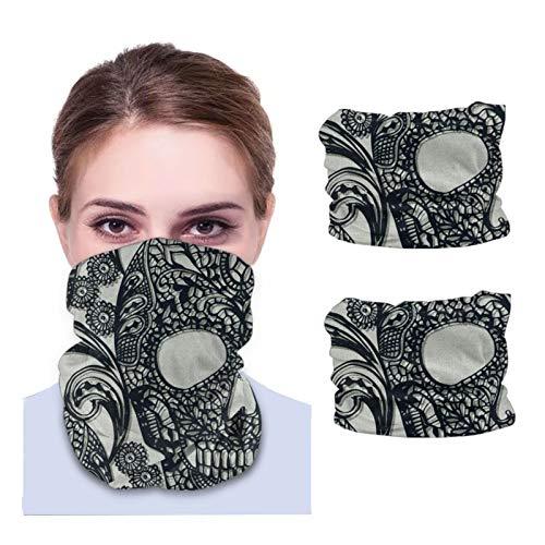 GSNWFG Cráneos de encaje – Calentador facial negro resistente al viento, diademas multiusos 12 en 1 para correr deportivas, 25 x 50 cm