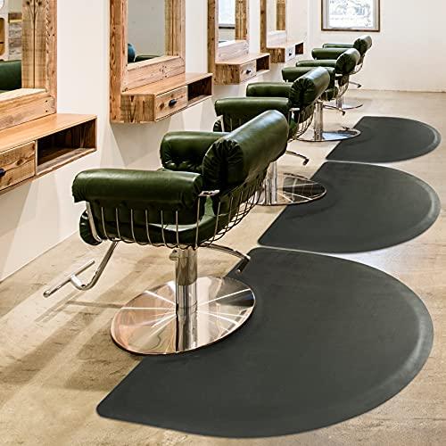 Salon Mat 3′x5′ Barber Shop Chair Mat Anti-Fatigue Floor Mat - Black Semi Circle Salon mats for Hair Stylist - 1/2' Thick Office Comfort Floor Mat