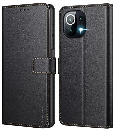 Ganbary Funda Compatible con Xiaomi Mi 11 Lite 4G/5G, Funda Movil Carcasa PU Cuero con Ranura para Tarjeta, Cierre Magnético, Función de Soporte para Xiaomi Mi 11 Lite 4G/5G, Negro