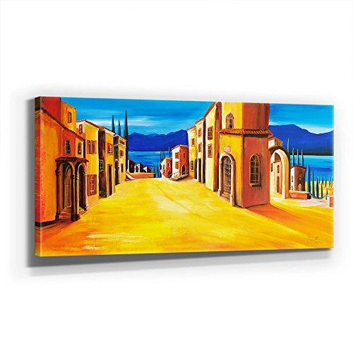 Mia Morro - MEDITERRAN Village 110x50cm XXL Bild - Kunst, Leinwand auf Echtholzrahmen aufgespannt, UV-stabil und wasserfest, modernes XXL Deko Bild FineArtPrint Wandbild