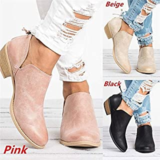 DENG&XUE Women's Fashion Autumn Solid Leather Ankle Boots Cut-Out Low Chunky Heel Round Toe Back Zipper Casual Short Boots (Pink,33)