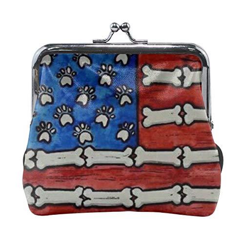 PecoStar Geldbörse für Münzen, Pfoten- und Hundefutter, amerikanische Flagge, süßes Muster, Münzgeldbörse, Schlüsselkartenhalter