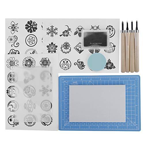 Juego de manualidades de tallado de sellos de goma Kit de herramientas de bricolaje para sellos de escultura manual para entusiastas de sellos de goma