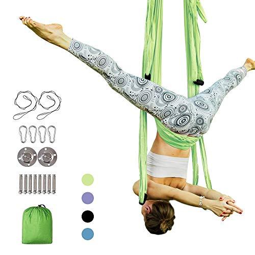 MQSS anti-zwaartekracht plafond yoga-draagriem, lucht-yoga-hangmat, yoga-schommel-/sling-/inversiegereedschap, lucht-trapezium met 3 verschillende greeplengtes