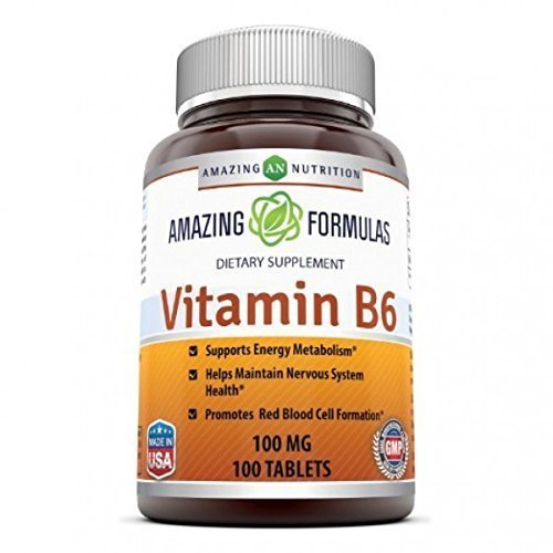 Amazing Nutrition Vitamin B6 Dietary Supplement – 100 mg, 100 Tablets (Non-GMO,Gluten Free) – Supports Healthy Nervous System, Metabolism & Cell Health