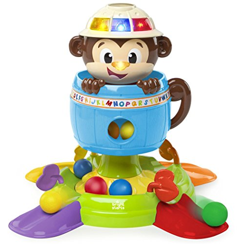 Bright Starts Hide 'n Spin Monkey Ball Popper Musical Activity Toy, Ages 6 months +