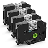 MarkDomain Compatible Label Tape Replacement for Brother TZe-131 TZ-131 Laminated Black on Clear 0.47' x 26.2'(12mm x 8m), Compatible with P-Touch Label Maker PT D210 1880 H100 H110 D200 (4 Pack)