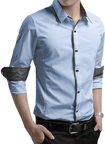 Hombre Manga Larga Slim Fit Camisa Ocio Polos Negocio Camisas ...