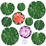 Auihiay 10 Pieces Realistic Lily Pads Artificial Water Floating Foam Lotus Flowers, Water Lily Pads Ornaments for Pond Pool Aquarium Water Decoration