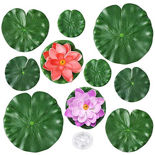 Auihiay 10 Stück Realistische Seerosenblätter Künstliches Wasser Schwimmender Schaum Lotusblumen, Seerosenblätter Ornamente für Teich Pool Aquarium Wasserdekoration