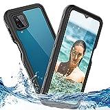 Funda Samsung A12 Impermeable 360 Grados Protección Antigolpes Anti-rasguños Resistente Al Agua Custodia con Sensor de Huellas Digitales Fina Transparente Carcasa para Samsung Galaxy A12 Negro