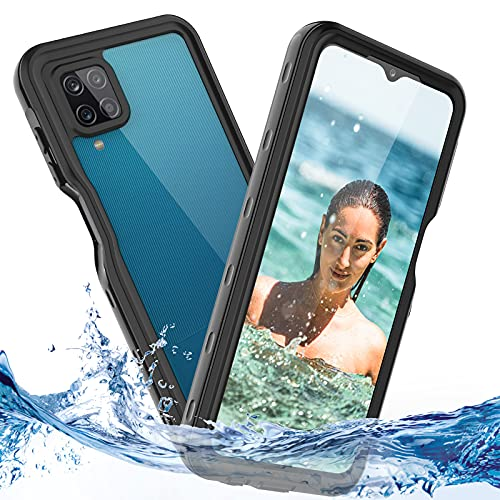 Samsung Galaxy A12 Handyhülle IP68 Wasserdicht 360 Grad Stoßfest Staubdicht Schneefest Outdoor Panzerhülle für Samsung A12 Hülle Dünn Transparent Schutzhülle mit Eingebautem Displayschutz Schwarz