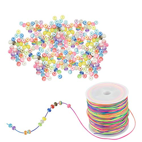 SNAGAROG 400 cuentas de rayas acrílicas de 6 mm, cuentas redondas de resina coloridas, con cordón de 100 m de color arcoíris para hacer joyas, pulseras, collares, pendientes, colgantes, decoración DIY