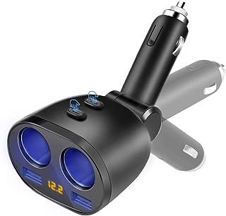 Zwei USB Anschlüsse 3.6A Schnellladung 2 Fach Zigarettenanzünder Splitter Kfz Ladegerät Einzelschalter 80 W Netzteil, Zwei USB Anschlüsse Autoladegerät für Smartphones Tablet GPS Geräte