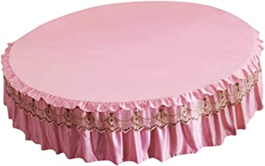 Blesiya Gilrs Round Bed Skirt Light Pink Bed Cover Bed Sheet Queen King Bed Set with Ruffles - M