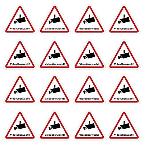 kleberio® 16 Selbstklebende Aufkleber Videoüberwachung - Achtung Videoüberwachung - 5 x 4,5 cm Hinweisschild Warnschild Kameraüberwachung Alarmanlage alarmgesichert Privatgrundstück verboten
