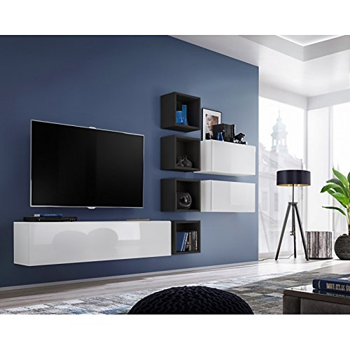 Paris Prix - Meuble TV Mural Design blox VII 280cm Blanc & Noir