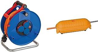 Brennenstuhl Garant IP44 Kabeltrommel (40m Kabel in orange, Spezialkunststoff, Einsatz im Außenbereich, Made in Germany) & Safe Box Schutzkapsel für Kabel BIG IP44 outdoor gelb, 1160440