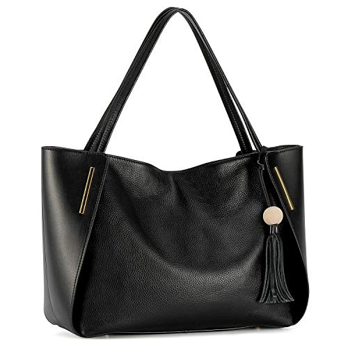 Kattee Women's Genuine Leather Tote Handbags, Top handle Purses with Tassel Decoration(Black)