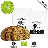 LOWER-CARB-Brot-Backmischung 2er Pack: 100% Bio | Eiweissbrot 22% Protein | VEGAN & PALEO | Glutenfrei, Hefefrei | ohne Getreide & ohne Zucker | Hergestellt in DE | Ergibt 4 Brote -