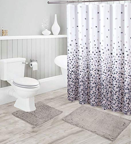 Luxury Chenille Bath Mats and Ombré Shower Curtain Set, Ultra Soft Non-Slip High Pile Water Absorbent Shaggy Chenille Bathroom Rugs and Abstract Mosaic Shower Curtain 15 Piece Set-Jasmine (Light Grey)