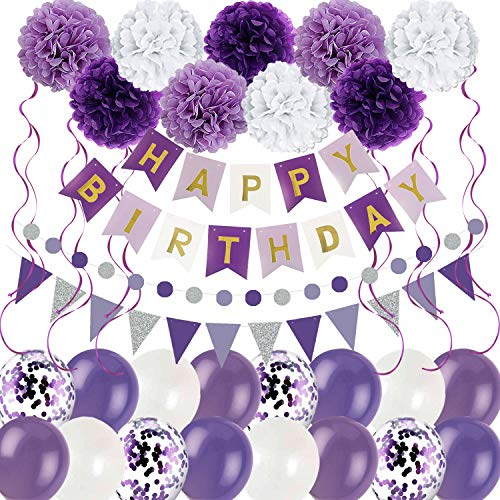 Purple White Birthday Decorations Party Supplies for Women Girls with Happy Birthday Banner,Tissue Paper Pom Poms, Triangular Pennants, Latex Confetti Balloons- Purple, Lavender and White